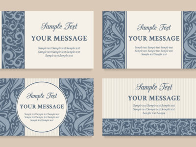 Set of vector beautiful floral vintage invitation cards, business cards or announcements